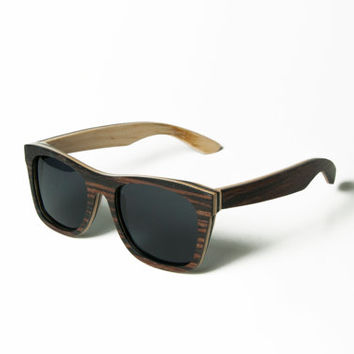 Wooden Sunglasses, Espresso stained sunglasses, Maple Wood Sunglasses, Wood Eyewear Wayfarers, Hand Made from Recycled Wood, Woodgrain Wood