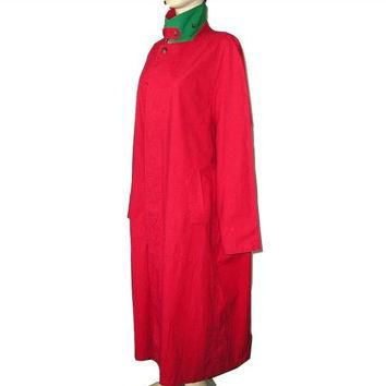 Vintage Unisex Polo by RALPH LAUREN Maxi Oversized Waterproof Red Trenchcoat Raincoat