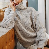 Cable Knit Turtle Neck Lela Sweater