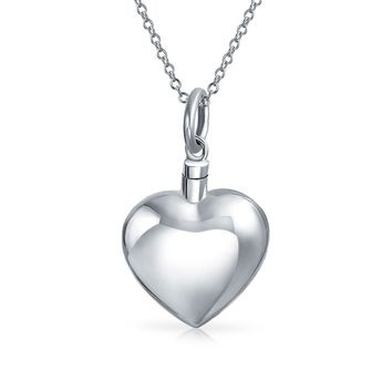 Large Puff Heart Shape Locket Pendant For Women Memorial Cremation Urn