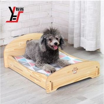 Pet Kennels Beds Cats Dogs Small Medium Teddy Wooden Bed Pets Nest Four Seasons Available Sofa with Free Mat Luxury Assessoires