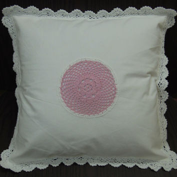 "HANDMADE CROCHET CUSHION -  Crochet Pillow - Sofa Cushion - Pink  - 16 x 16"" Inches"