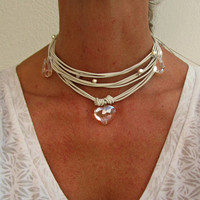 White Necklace for Wedding, Crystal Bridal Choker, For boho bride, Leather Wrap Jewerly for hippie brides, Beach Wedding Fashion