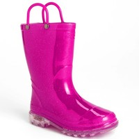 Girl's Western Chief Light-Up Glitter Rain Boot,