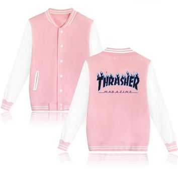 Thrasher flame special large size tide coat plus cashmere couple baseball clothing Black letters-1