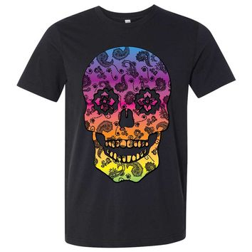 Neon Paisley Print Sugar Skull Asst Colors Mens Fitted Tee