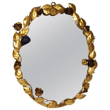 Wall Mirror with Flowers Roses 1950s Italy