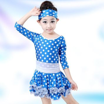 Girls Long Sleeve Sequin Girls Kids Ballroom Dresses girls Latin dance Dress perfoming costumes Tango Salsa Clothes YL333