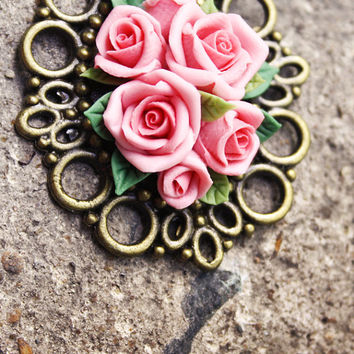 charm necklace, vintage rose pendant ,handmade flowers necklace , jewelry , bronze, polymer clay flower, handmade jewelry, pendant