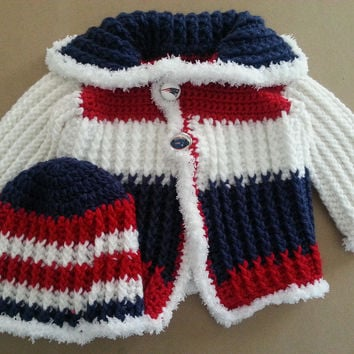 New England Patriots Baby Sweater and Hat Set Size 6 to 9 Months