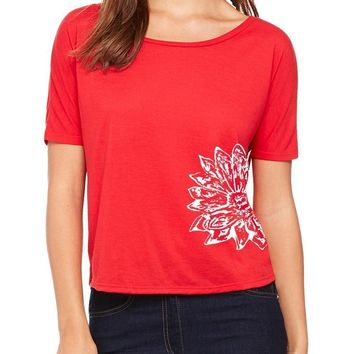 Yoga Clothing for You Womens Sketch Lotus Open Back Yoga Tee - Red (side print)