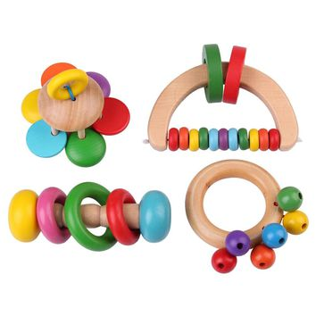 Funny Kids Toys Baby Bells Wooden Hand Bells Infants Musical Instruments Musical Toy Education Plaything Puzzle Toy