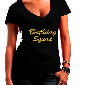 Birthday Squad Text Juniors Petite V-Neck Dark T-Shirt by TooLoud