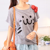 Spring Cute Loose Smily Kitten Face With Polka Dot Ribbon Bat Sleeves Tee