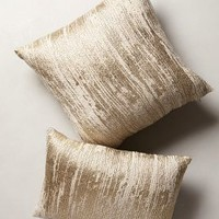 Plaited Metallics Pillow by Anthropologie in Gold Size:
