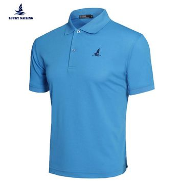 Men t-shirt solid polo knit cotton stand collar