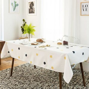 Ink and Yellow Dots Indoor / Outdoor Tablecloth