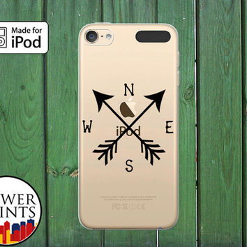 Black Compass Arrows North South West East Travel Clear Case For iPod Touch 5th Generation and iPod Touch 6th Generation iPod 5 iPod 6