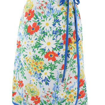 70s Floral Print Wrap Skirt