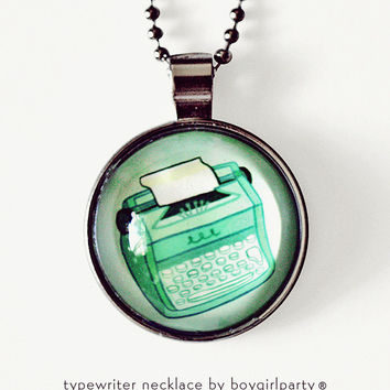 Green Typewriter Necklace