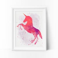 Unicorn Art, Watercolor Unicorn, Unicorn Nursery, Coral Nursery, Rose Unicorn Print,  Wall Art, Baby Girl Unicorn, Kids Room