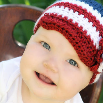 Patriotic Baby girl 4th of July crochet cap with brim and flower