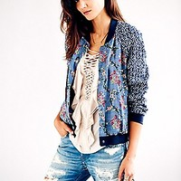 Free People  Printed Baseball Jacket at Free People Clothing Boutique