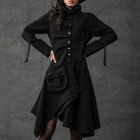 Black Swing Coat - Contemporary Unique Design Winter Jacket with Pixie Rag Hemline and Large Front Pocket (CF038)