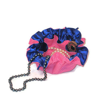 Drawstring Travel Jewelry Pouch / Satchel - Pink Dot Blue Satin