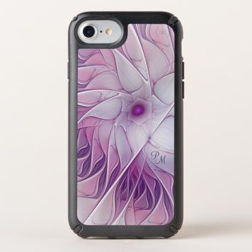 Beautiful Pink Flower Modern Abstract Monogram Speck iPhone Case