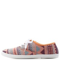 Coral Tribal-Woven Canvas Sneakers by Charlotte Russe