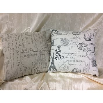 French Script Accent Pillow 16 x 16 Taupe