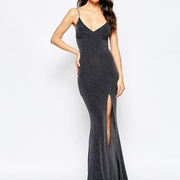 Club L | Club L Tie Back Fishtail Maxi Dress in Glitter Fabric at ASOS