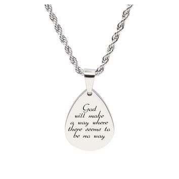 Teardrop inspirational Tag Necklace - GOD WILL MAKE A WAY