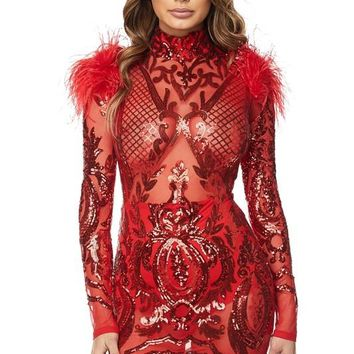 Argelia Feather Embellished Sequin Dress
