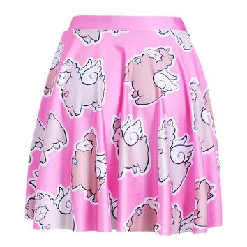Adorable Alpaca Llama with Wings All Over Print Skirt with Elastic Waist in Pink