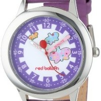 "Red Balloon Kids' W000191 ""Butterflies Time Teacher"" Stainless Steel Watch with Purple Leather Band"