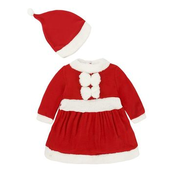 Novelty Kids Baby Girls Clothing Christmas Red Dresses + Hat 2 Pcs New Year Costume 9-24Month Infant Newborn Baby Clothes