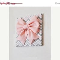 "MOTHERS DAY SALE Large Light Pink Bow on Pink and Gray and White Chevron 12 x12"" Canvas Wall Art- Baby Nursery Wall Decor- Zig Zag"