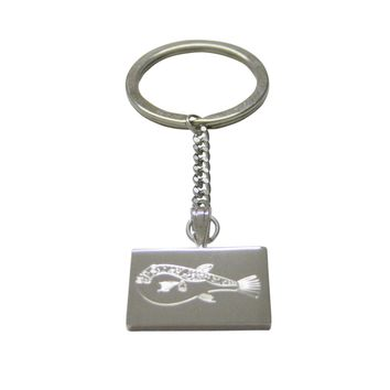 Silver Toned Etched Puffer Fish Keychain