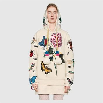 Brand Design Hoodies 2018 Top Quality Runway Peonies Butterfly Insect Print Sweatshirt Hooded harajuku White Pullover
