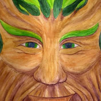 Green Man - Poster of Pagan God Watercolor Pencil Fine Art