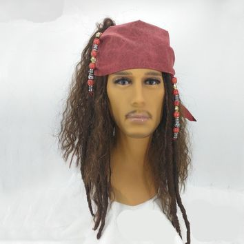 Cool BOOCRE Movie Pirates Of The Caribbean Cosplay Jack Sparrow Headwear Wig Halloween Masquerade AccessoriesAT_93_12