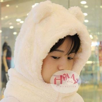 VONG2W 2017 New Fashion Cotton Warm Animal Hoodies Hat Scarf White Fluffy Warm One Piece Set Cute Bear Winter Caps For Women Girls