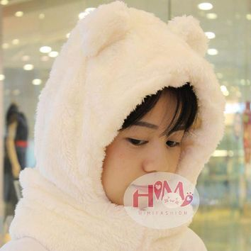 DCCKU62 2017 New Fashion Cotton Warm Animal Hoodies Hat Scarf White Fluffy Warm One Piece Set Cute Bear Winter Caps For Women Girls
