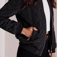 Missguided - Quilted Padded Bomber Jacket Black