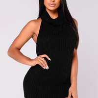 Sweet Threads Halter Sweater - Black