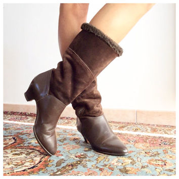 80s brown boots size 8 1/2 US - Mid Calf Brown Boots - Winter Boots 39 Italia / 6 UK  Winter boots
