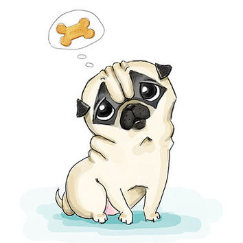 "Pug. Printable greeting card, Instant Download 5 x 7"" JPG file, Think about you. Funny sketch drawing."