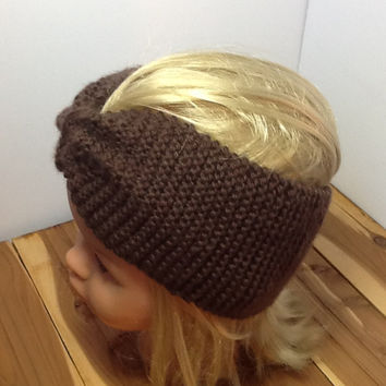 Knitted Headband, washable Merino wool in chocolate brown, stretchy, cozy ear warmers, turban style cinch band